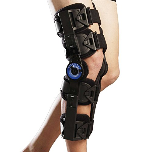 Orthomen Hinged ROM Knee Brace, Post Op Knee Brace for Recovery Stabilization, Adjustable Medical Orthopedic Support Stabilizer After Surgery, Universal - One Size ()