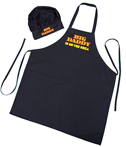 Chef Hat and Apron Set Big Daddy Is On The Grill - BBQ Aprons For Men (Apron Grill Set)