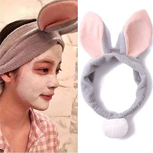(NEWNESS Women Fashion Lovely Soft Medium Cotton Rabbit Bunny Ears Bow Makeup Cosmetic Shower Elastic Hair Band Hairlace)