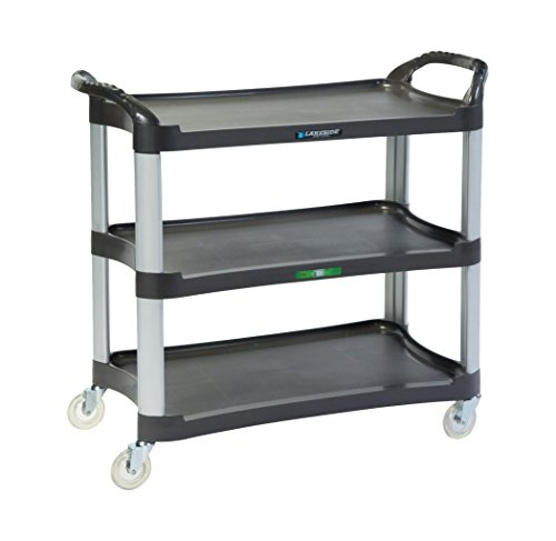 Lakeside 2512 Plastic Utility Cart; 500 Lb Capacity, 3 Shelf, 16-3/4