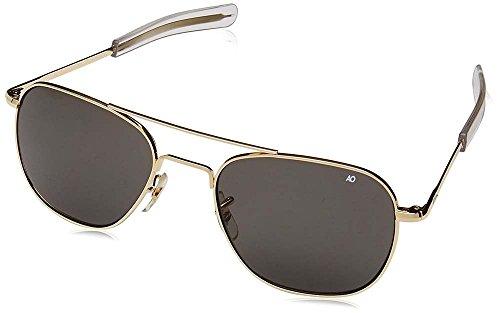 AO Eyewear American Optical - Original Pilot Aviator Sunglasses with Bayonet Temple and Gold Frame, True Color Grey Glass Polarized Lens