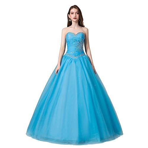 Engerla Women's Sweetheart Beading Bodice A-line Sweep Train Quinceanera Dress(US10) Blue