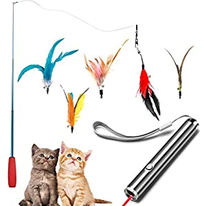 Dioxide 7 Piezas de Juguetes para Gatos, Juguete de Plumas de Gato 1 Varita Retráctil con 5 Plumas de Ave, 2 n 1 Función…