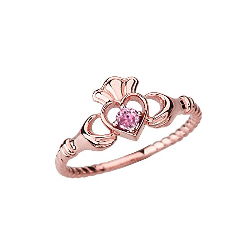 Dainty 10k Rose Gold Open Heart Solitaire October Birthstone Rope Claddagh Promise Ring (Size 8.25)