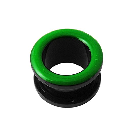 12MM UV Green Neon Inlay on Black UV Fit Flesh Tunnel Body jewelry