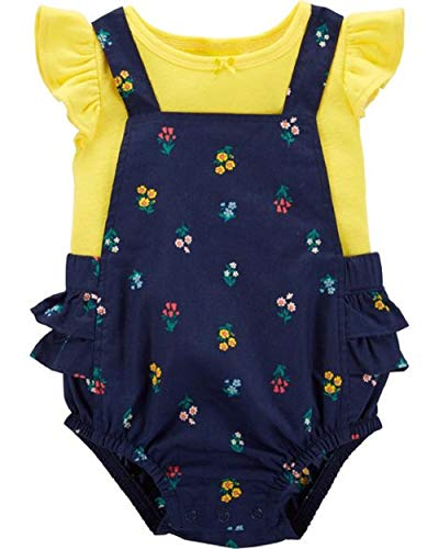 - Carter's 2-Piece Flutter-Sleeve Tee & Floral Bubble Romper Set Yellow/Navy