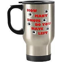 Hunting Travel Mug - Gun Bullets Bullet Holes - 14 oz Coffee Insulated Stainless Steel Travel Mug Handled Gift - Gunshots
