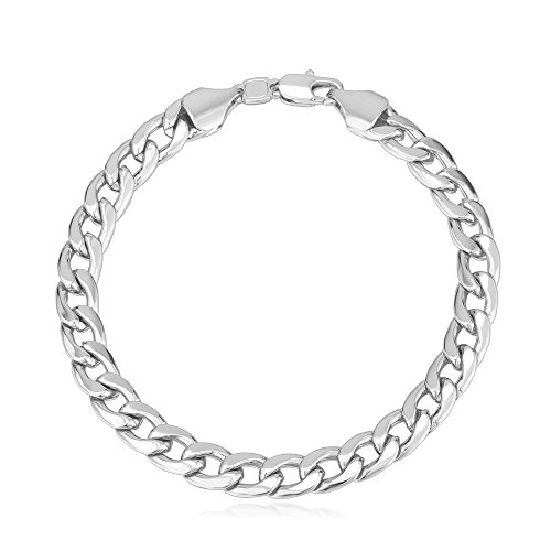 (U7 Men Platinum Plated Punk Cuban Link Chain Bracelet, 8.3