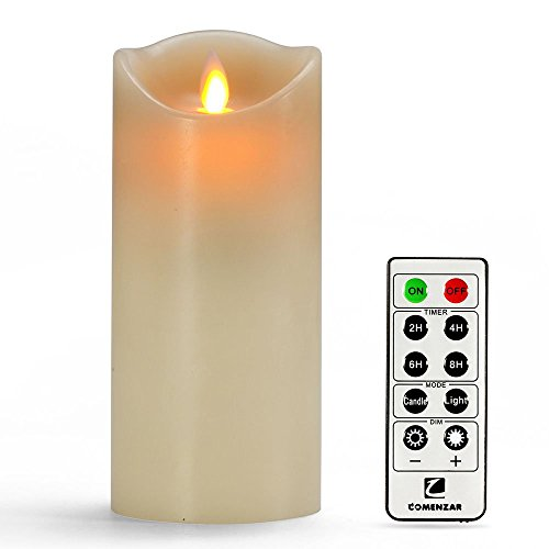 """Flameless Candles, Led Candles Set of 9(H 4"""" 5"""" 6"""" 7"""" 8"""" 9"""" xD 2.2"""") Ivory Real Wax Battery Candles With Remote Timer by (Batteries not included)"""