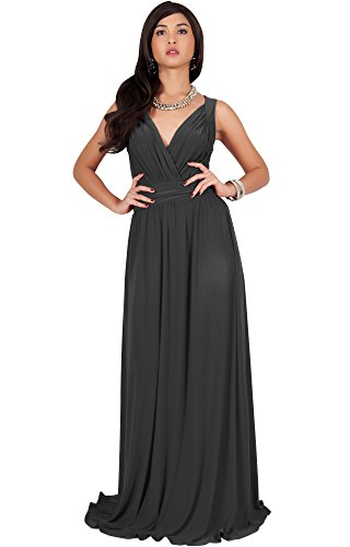 KOH KOH Plus Size Womens Long Sleeveless Flowy Bridesmaids Cocktail Party Evening Formal Sexy Summer Wedding Guest Ball Prom Gown Gowns Maxi Dress Dresses, Dark Gray Grey XL 14-16 (2)