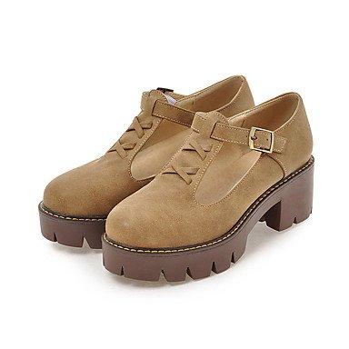 Zapatos de tacones de las mujeres Primavera Verano Otoño Invierno Comfort cuero sintético oficina y carrera Fiesta y Noche Casual hebilla de tacón grueso Amarillo Rojo Gris Yellow