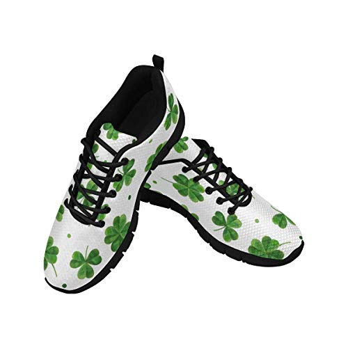 INTERESTPRINT Women's Fashion Sneakers St. Patrick's Day Breathable Lightweight Running Shoes Black -