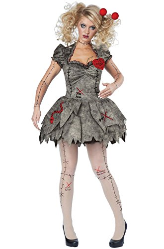 Mememall Fashion Creepy Voodoo Outfit Halloween Rag Doll Costume Adult Women (Voodoo Queen Costume)