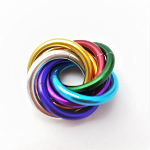 Möbii Half Small Mobius Hand Fidget Toy, Shiny Stress Rings for Restless Hands, Office Toy (Rainbow 10 Pack, Small) by Möbii (Image #2)