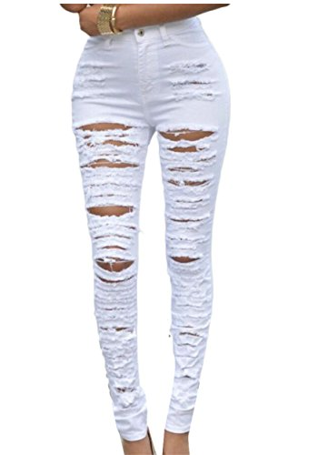- Qiangjinjiu Women Solid Color Ripped Hole High Waist Zipper-up Cowboy Jeans White XL