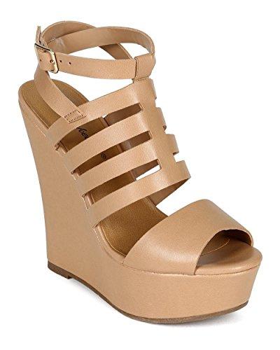 Breckelles Cc70 Kvinnor Läder Öppen Tå Bur Ankelbandet Plattform Kil Sandal - Naturlig Konstläder