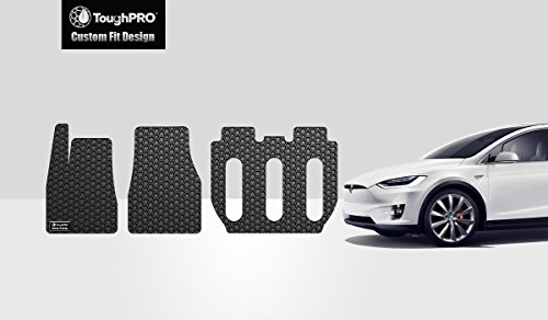 ToughPRO Floor Mats Set 1st + 2nd + 3rd Row Compatible with Tesla Model X (7 Seater Built from 10/18/16 and Older) - All Weather - Heavy Duty - (Made in USA) - Black Rubber - 2016