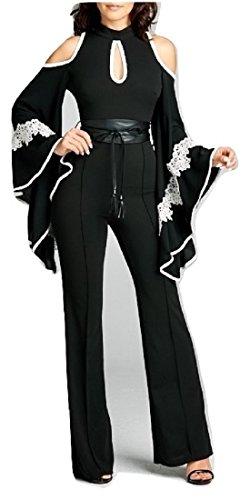 L'Diva Couture Boutique Women's Elegant Cold Shoulder Black Jumpsuit (Small) Diva Jumpsuit