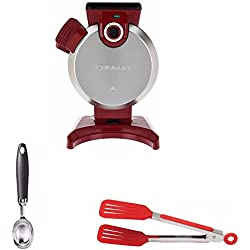 Cuisinart WAF-V100 Vertical Waffle Maker, Red (Certified Refurbished) Includes Cuisinart CTG-01-IS Curve Handle Ice Cream Scoop and 8-inch Nylon Flipper Tongs