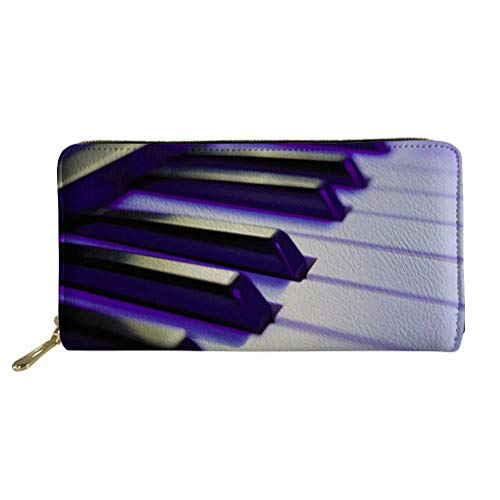 SANNOVO Women's Large Clutch Leather Wallet With Zipper Piano Keyboard Printed Coin Pocket