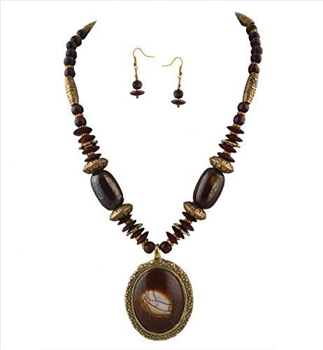 (Zephyrr Fashion Necklace Earrings Set Tibetan Style Beaded Handmade for Women)