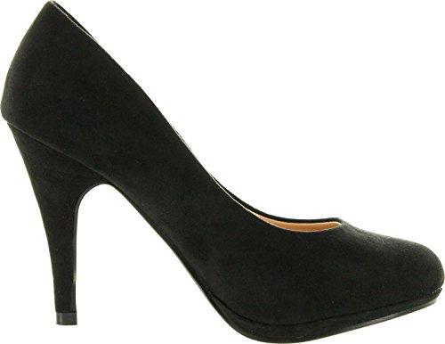 Bella Marie Womens Nine-1 Suede Almond Toe Classic Pumps Stiletto Party Dress Heel