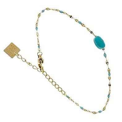 Zag Bijoux Bracelet Fin Perles Turquoise (doré)