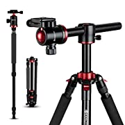 #LightningDeal GEEKOTO Tripod Camera Tripod for DSLR Compact 75'' Aluminum Alloy Tripod with 360 Degree Ball Head, Professional Horizontal Tripod for Travel and Work