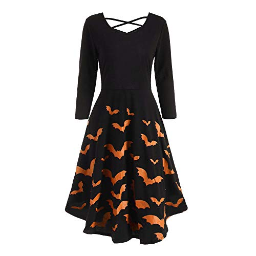 DEATU Ladies Dress Women Halloween Casual Elegance Long Sleeve Hollow Bat Print Flare Dress Party Casual Dresses(Orange A,M) -