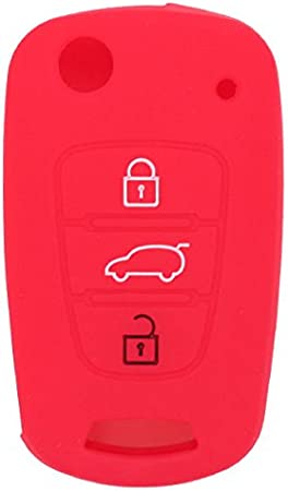SEGADEN Silicone Cover Protector Case Skin Jacket fit for HYUNDAI KIA 3 Button Flip Remote Key Fob CV9100 Red