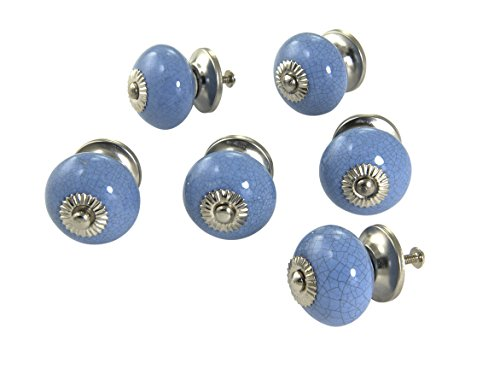 Dritz Home 47052A Periwinkle Blue Ceramic Ball Knob Handcrafted Knobs for Cabinets & Drawers ()