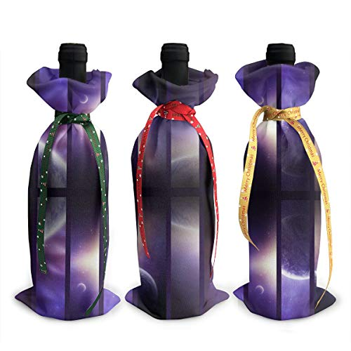 Chritmas Wine Bottle Covers Violet Eclipse of Moon Chritmas Wrap Home Party Decoration, Champagne Bottle Bags-Dinner, Party Table DÃcor, X-Mas Gift, Set of 3