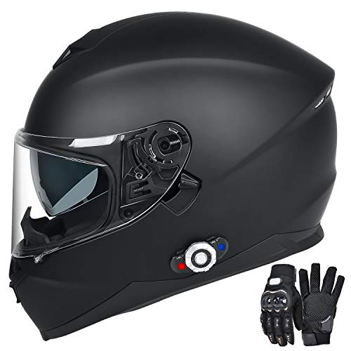 Bluetooth Motorcycle Helmet, FreedConn DOT Full Face Motorcycle Helmet with Bluetooth - 500M, 2-3 Riders Pair, FM/ MP3 (Matte Black, XL) (Best Motorcycle Helmet With Built In Speakers)