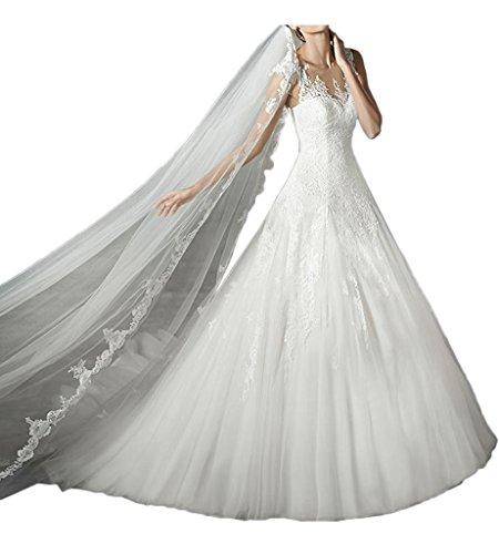 Promgirl House Damen 2016 Schoen Spitze ALinie Rundkragen Brautkleider  Hochzeitskleider Lang