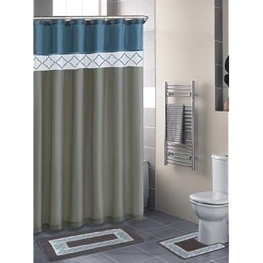 Home Dynamix DB15D-329 Designer Bath Polyester 15-Piece Bathroom Set, Blue/Beige