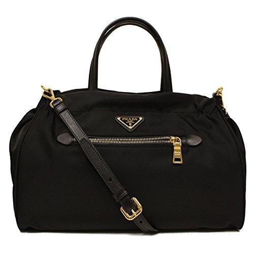Prada Tessuto Saffian Nylon and Leather Shopping Tote Bag B1843M, Black / Nero -