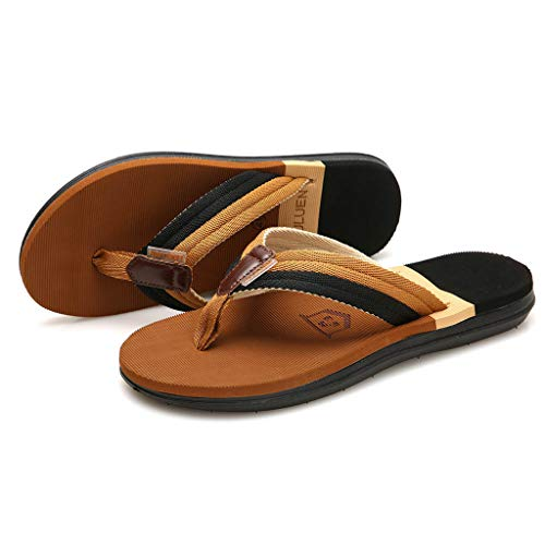 a355796dad9 Men s Beach Shoes HOSOME Men Casual Flat Flip Flops Slippers Outdoor Antiskid  Shoes Khaki