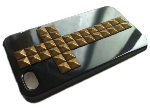 TOOGOO(R) Punk Style Mobile Phone Protective Skin for iPhone 4/4S Case with Studs and Spikes Black Bronze