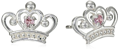 Disney Princess Sterling Silver Pink Crown-Shape Stud Earrings