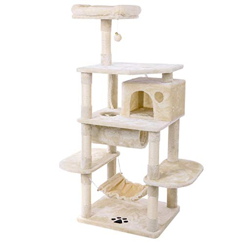 - BEWISHOME Cat Tree Condo with Sisal Scratching Posts Perch House Hammock Tunnel, Cat Tower Furniture Kitten Activity Center Pet Kitty Play House Playground Beige MMJ02M