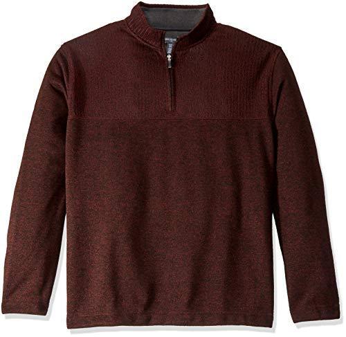 Van Heusen Men's Big and Tall Flex 1/4 Zip Texture Block Sweater Fleece,2X-Large Big,Red Rubia -