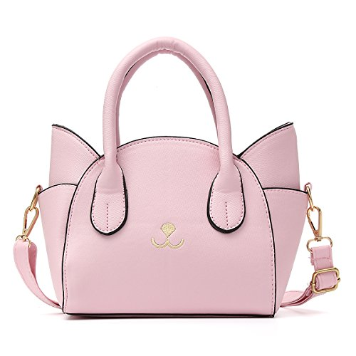 Pink Handbag Bag - OURBAG Women's Fashion Top Handle Cute Cat Cross Body Shoulder Bag Pink Medium