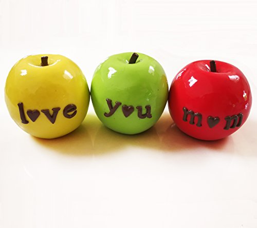 Gift for Mom Love You Mom Apple set of 3 with Glossy Finish Clay Decor Ideal for Mums Birthday or Mothers Day Present Perfect Mom Gift Idea Christmas Gift for Mom (Miss Prindables Apples)