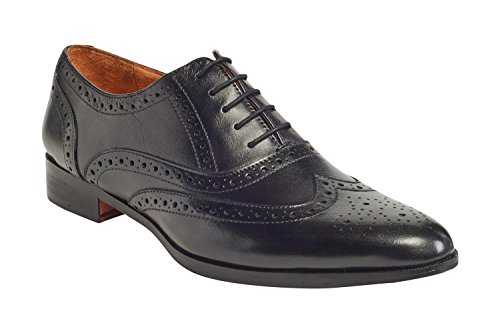 by Full Calfskin Wingtip Grain Leather Carlos Blake Soul Mens Oxford Black Carlos Stitched Santana vqcdv4