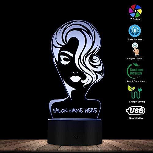 ENLAZY Nombre de salón de Belleza Personalizado 3D LED Luz de ...