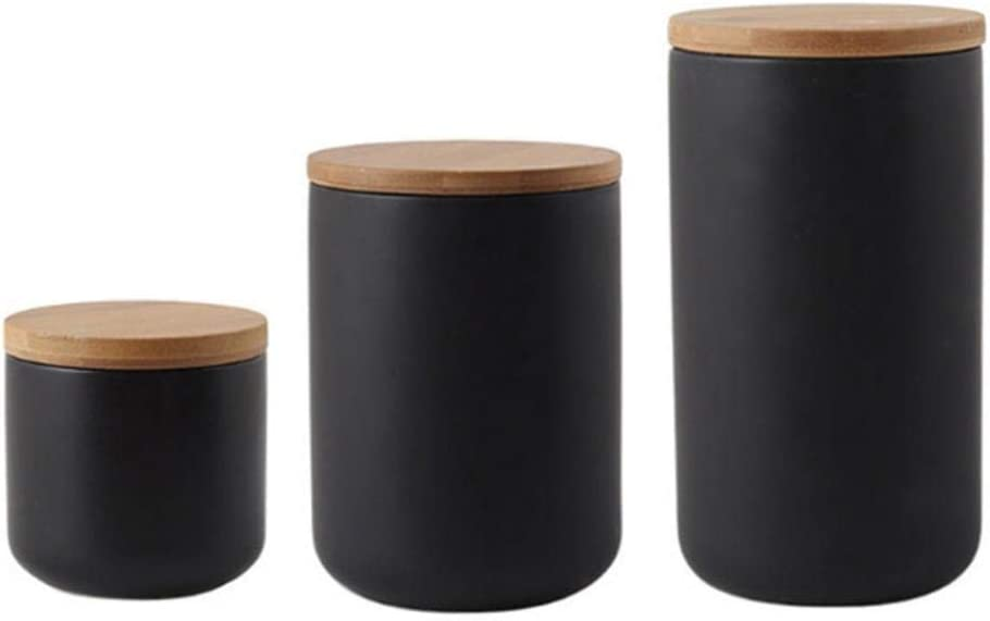 Ceramic Jar with Lid, Kitchen Canisters Set with Airtight Seal Bamboo Lid, Black White Food Storage Canister for Tea, Coffee Bean, Sugar, Flour (Black:three piece)