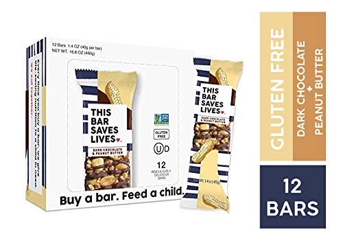 Gluten Free Healthy Granola Snack Bar, Dark Chocolate & Peanut Butter, 12 Bars, 1.4 oz; Breakfast Bars by This Saves Lives
