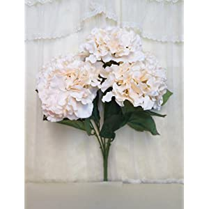 "Sweet Home Deco 18"" Super Soft Silk Hydrangea Artificial Flower Bouquet (5-stem, 5mop Heads), with No Pot(centerpieces/Wedding Decoration) 100"