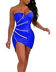 فستان سهرة قصير ضيق من الأمام بدون حمالات للسيدات من GAGA