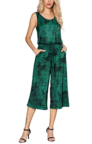 Euovmy Women's Casual Sleeveless Loose Elastic Waist Stretchy Wide Leg Long Romper Jumpsuit with Pockets